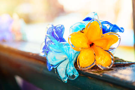 Traditional flower glass decorations in Murano island near Venice, Italy Stock Photo
