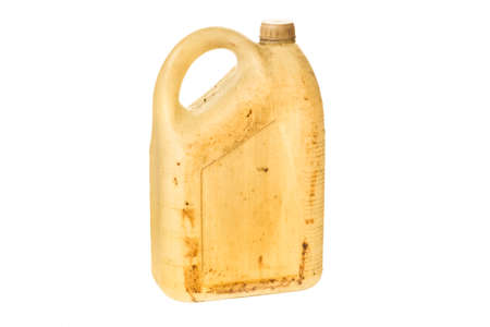 Old plastic jerrycan or gasoline canister fuel can isolated on white background.