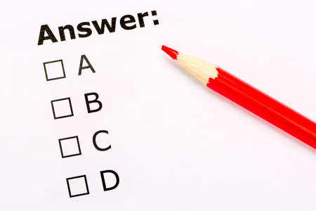 Checkboxes questionnaire with red pencil. Testing and exam concept