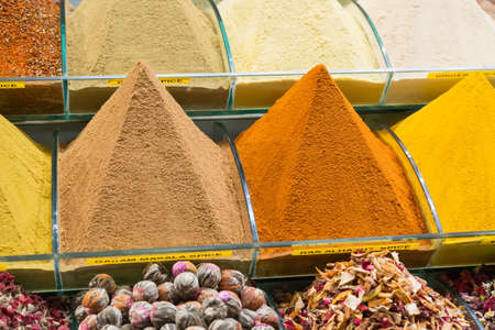 Spices and tea on the Egyptian market in Istanbul, Turkey
