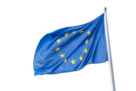 Waving European Union flag isolated on white background 免版税图像