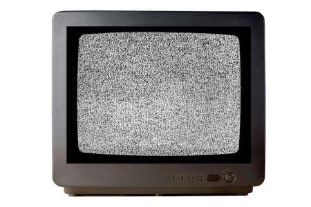 Vieux téléviseur vintage téléviseur isolé sur fond blanc sans effet de bruit granuleux de télévision de signal sur l'écran..
