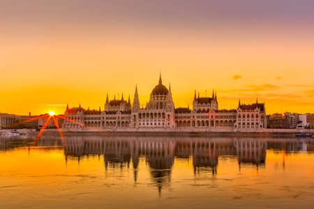 Sunset view of Budapest Parliament building with Danube River in Hungary Reklamní fotografie