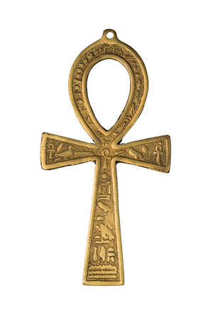 Egyptian symbol of life Ankh isolated on white background. Close up image Banque d'images