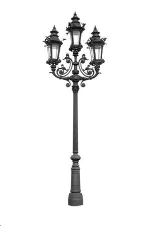 Old vintage street lamp isolated on white background. Vintage street lamppost