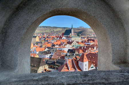 View of Cesky Krumlov from a window in Bohemia, Czech Republic