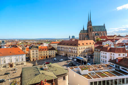 Brno, Czech Republic - April, 2018: Cathedral of St Peter and Paul in Brno, Moravia, Czech Republic with town square during sunny day. Famous landmark in South Moravia Editorial
