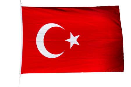 Waving Turkish flag isolated on white background.