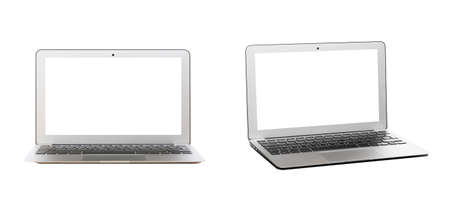 Modern silver laptop with blank screen isolated on white background. Front and side view