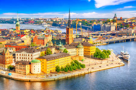 Beautiful aerial view of Stockholm Old town Gamla Stan from the City Hall Stadshuset. Beautiful summer sunny day in Stockholm, Sweden
