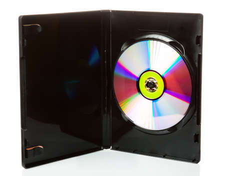DVD disk in opened case isolated on white background.