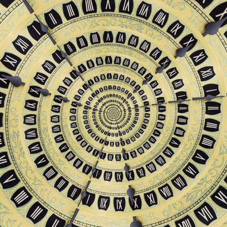 Yellow retro old clock spiral abstract background. Antique clock fractal background. Time spiral surreal clock