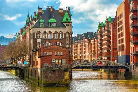 The Warehouse district Speicherstadt during spring in Hamburg, Germany. Warehouses in Hafencity quarter in Hamburg