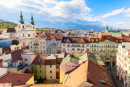 Aerial view of the old town of Brno during summer sunny day, Czech Republic. Brno is the capital of Moravia region Stock Photo