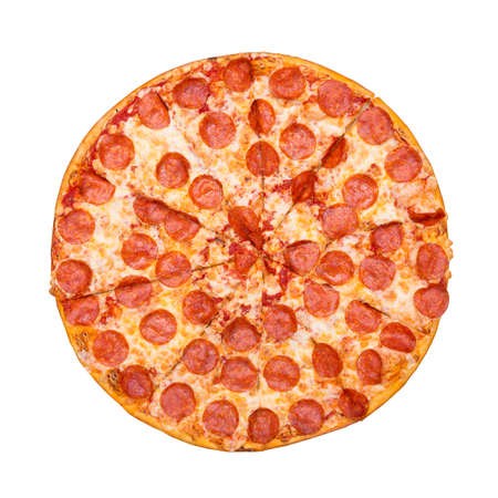Fresh tasty pizza with pepperoni isolated on white background. Top view. Imagens - 121170541