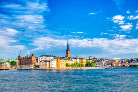 Beautiful panoramic view of Stockholm Old town Gamla Stan. Summer sunny day in Stockholm, Sweden Stock Photo