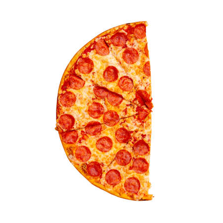 Fresh tasty half pepperoni pizza isolated on white background. Top view. 스톡 콘텐츠