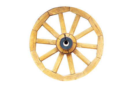 Vintage rustic wooden wagon carriage wheel isolated on white background Imagens