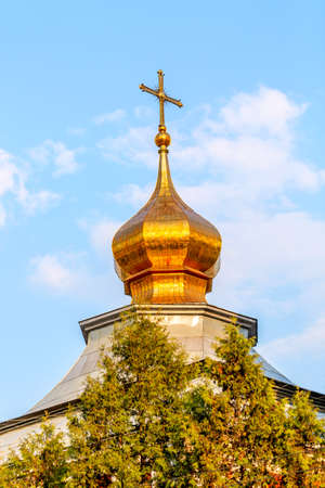 Ortodox church dome in Moscow during summer sunny day.