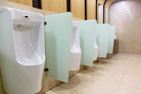 Row of urinals in a public toilet.