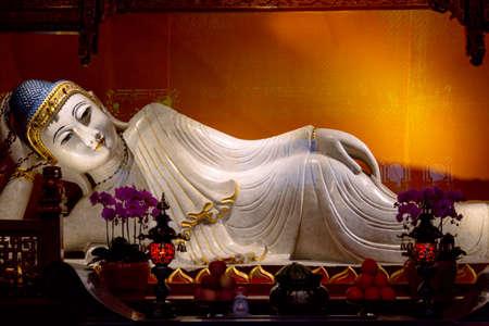 Reclining Buddha in Jade Buddha temple. Shanghai, China. Stock fotó
