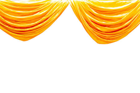 Yellow stage theater curtain isolated on white background