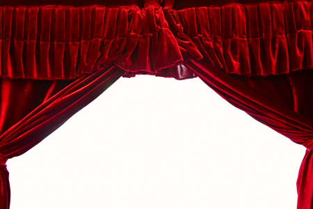 Dark red stage theater curtain isolated on white background Фото со стока