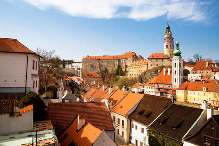 Panorama of the old Town of Cesky Krumlov in South Bohemia, Czech Republic with blue sky. famous place for tourism. Beautiful summer sunny day