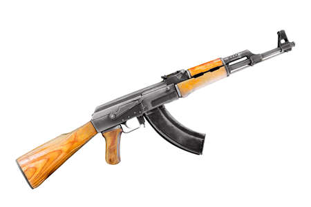 Soviet and russian assault rifle AK47 or AKM isolated on white background. Stock Photo