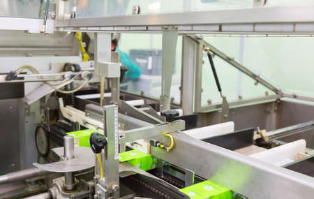Factory and industrial concept. Conveyor line belt in factory Stock Photo