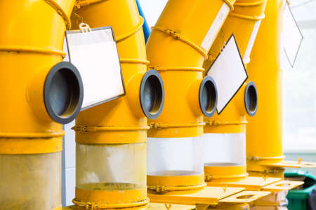 Industrial concept. Technological equipment pipes at modern pharmaceutical factory plant.