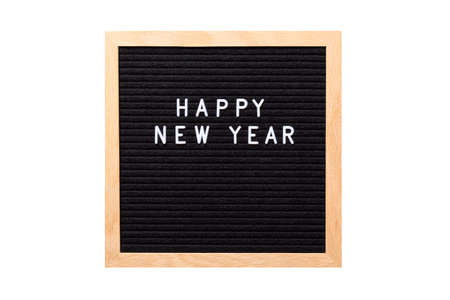Christmas or new year frame or mockup for your project. Happy new year words on a letter board isolated on white background. Stock Photo