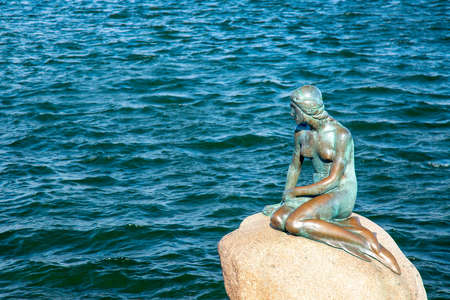 The Little Mermaid statue in copenhagen, especially popular tourist destination