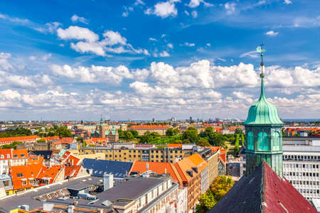Beautiful aerial view of Copenhagen, Denmark from top of the round tower. Summer sunny day 免版税图像