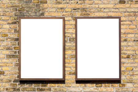 Modern empty blank advertising billboards banners on a wall in a city outdoors. Mockup for your advertising project