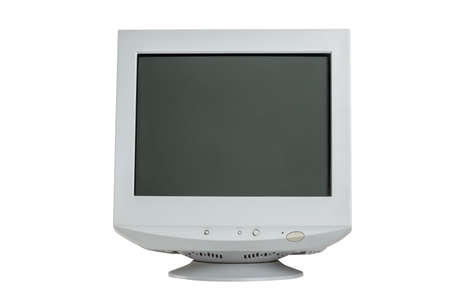 Old retro CRT monitor display isolated on white background