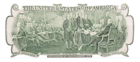 Dichiarazione di indipendenza, 1776 sul retro di una banconota da due dollari isolata su sfondo bianco