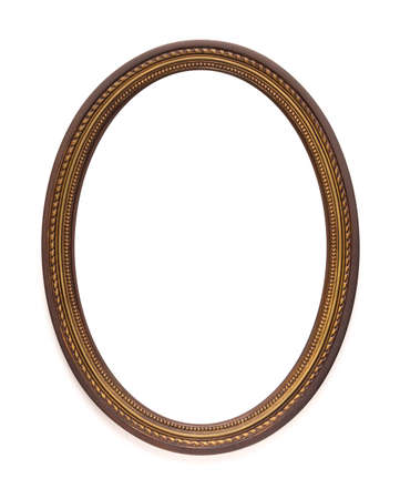 Vintage old retro wooden oval frame isolated on white background.