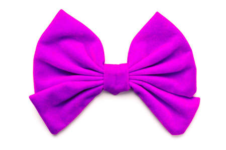 Close up of purple ribbon bow isolated on white background.