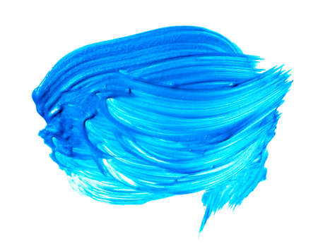 Blue turquoise brush stroke isolated on white background. Turquoise abstract stroke. Colorful watercolor brush stroke Banco de Imagens