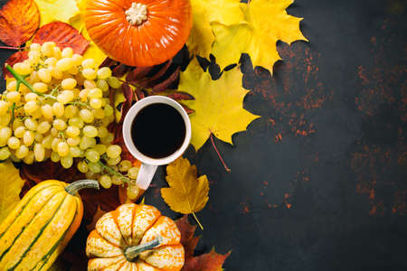 Ripe grapes, marrowpumpkins, and coffee on dark wooden background with colorful foliage leaves. Autumn seasonal image. Top view.