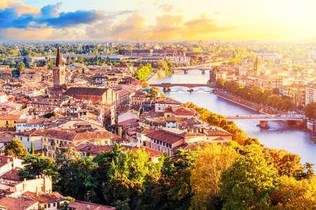 Beautiful sunset aerial view of Verona. Veneto region in italy. Verona sunset cityscape