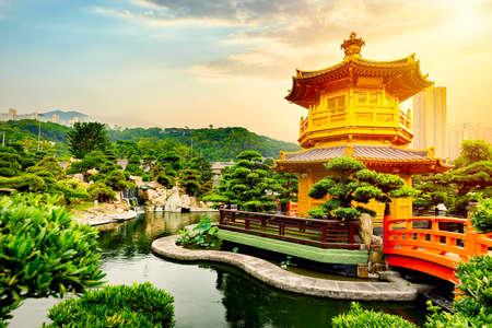 Chi Lin Nunnery of Nan Lian Garden situated at Diamond hill, Hong Kong, China during sunset. Stock fotó