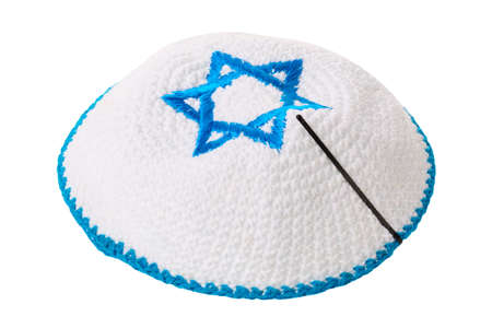 Traditional jewish headwear with star of David isolated on white background.