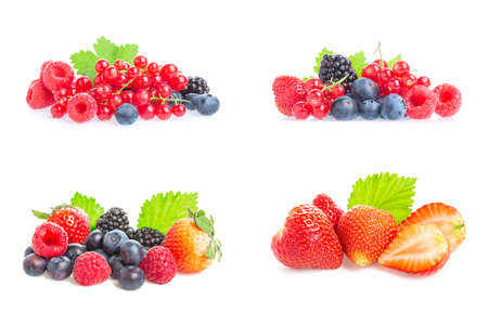 Healthy fresh food. Different berries collage set. Macro shots of fresh raspberries, blueberries, blackberries, strawberries, red currant and blackberries with leaves isolated on white background. Archivio Fotografico