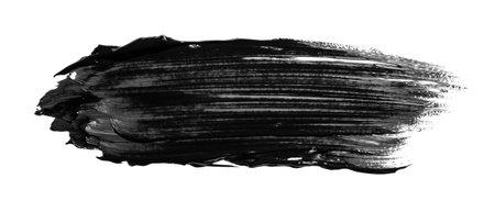 Black abstract oil paint spot. Oil pailt brush stroke. Imagens