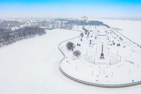 Aerial drone view of Strelka park and Assumption Cathedral in winter. Yaroslavl city, touristic Golden Ring in Russia Archivio Fotografico