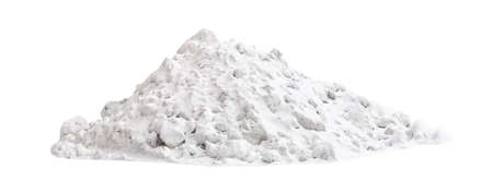 Huge heap of white street snow isolated on white background. Archivio Fotografico