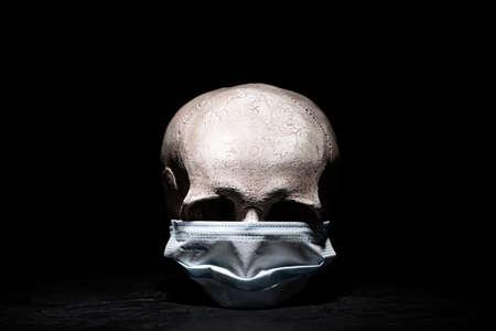 Human skull with medical mask against black background
