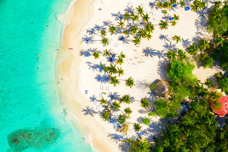 Aerial drone view of the beautiful small island and palm trees of Atlantic Ocean. Cayo Levantado island, Samana, Dominican Republic. Фото со стока